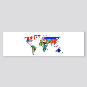 World flag map Bumper Sticker