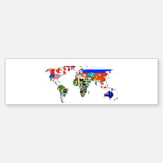 World flag map Bumper Bumper Stickers