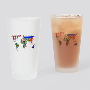 World flag map Drinking Glass