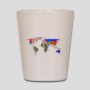 World flag map Shot Glass
