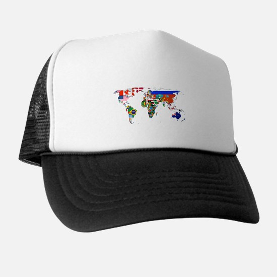World flag map Trucker Hat
