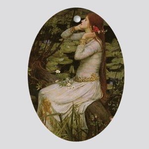 Ophelia by JW Waterhouse Oval Ornament
