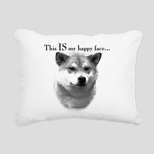 Shiba Inu Happy Face Rectangular Canvas Pillow