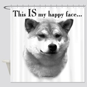 Shiba Inu Happy Face Shower Curtain