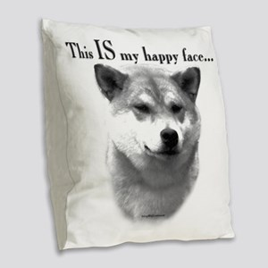 Shiba Inu Happy Face Burlap Throw Pillow
