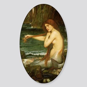 Mermaid by JW Waterhouse Sticker (Oval)