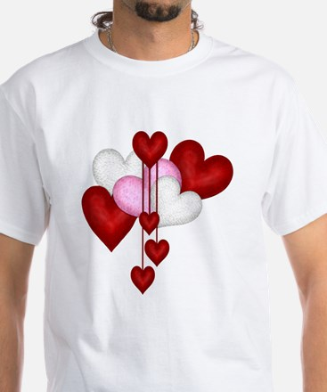 Romantic Hearts White T-Shirt