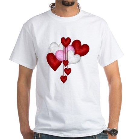 Romantic Hearts White T Shirt