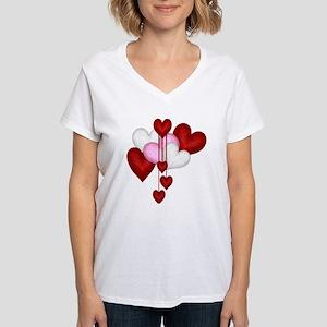 Romantic Hearts Women's V-Neck T-Shirt