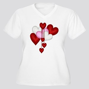 Romantic Hearts Women's Plus Size V-Neck T-Shirt