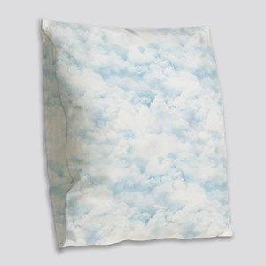 In The Clouds Burlap Throw Pillow