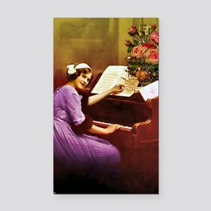 Girl Playing Piano Rectangle Car Magnet