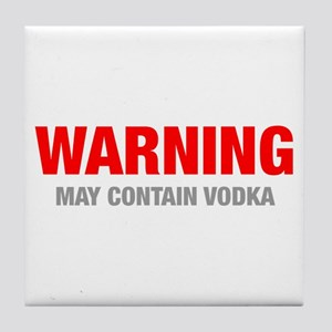 warning-VODKA-HEL-RED-GRAY Tile Coaster