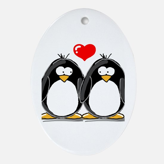 Love Penguins Oval Ornament