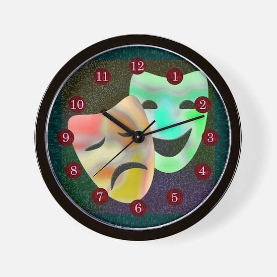 Drama Thespian Masks Wall Clock