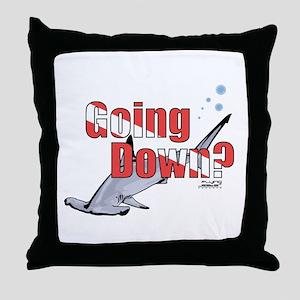 Going Down Hammerhead Scuba Diving Throw Pillow