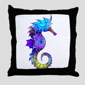 Splashy Seahorse Throw Pillow