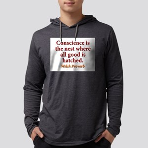 Conscience Is The Nest - Welsh Mens Hooded Shirt