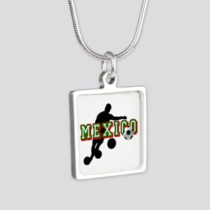 Mexican Soccer Player Silver Square Necklace