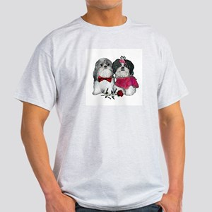 Shih Tzu Valentine Rose Ash Grey T-Shirt