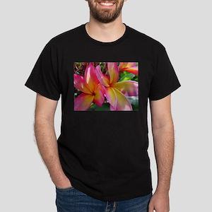 Pink Yellow Plumeria Dark T-Shirt