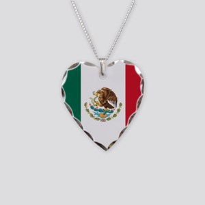 Mexican Flag Necklace Heart Charm