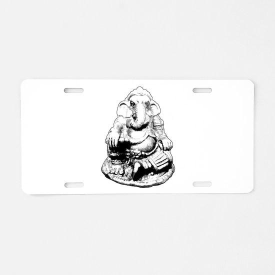Seated Ganesh (Ganesha) BW Aluminum License Plate