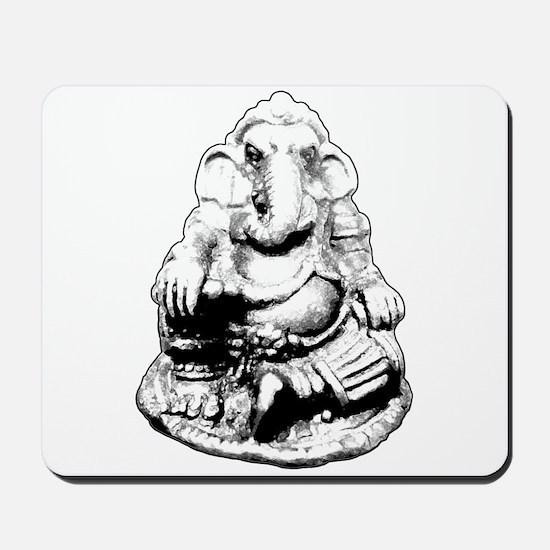 Seated Ganesh (Ganesha) BW Mousepad
