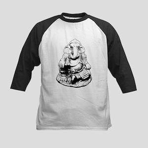 Seated Ganesh (Ganesha) BW Baseball Jersey