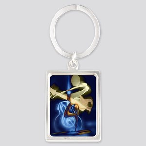 The Guitar Player, Abstract Desi Portrait Keychain