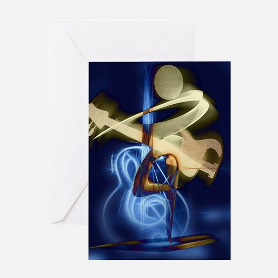 The Guitar Player, Abstract Design Greeting Card