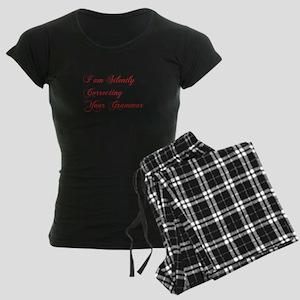 silently-correcting-grammar-cho-red Pajamas