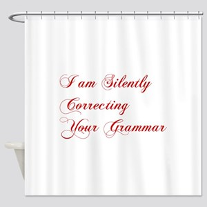 silently-correcting-grammar-cho-red Shower Curtain