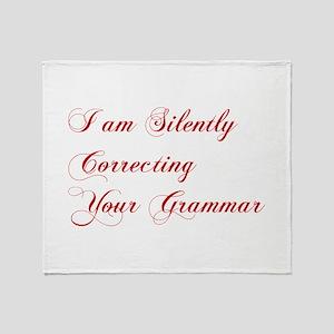 silently-correcting-grammar-cho-red Throw Blanket