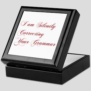 silently-correcting-grammar-cho-red Keepsake Box