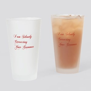 silently-correcting-grammar-cho-red Drinking Glass