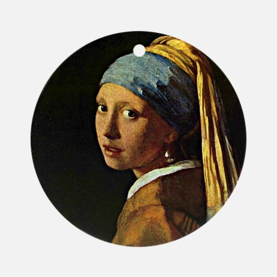 The Girl with a Pearl Earring, pain Round Ornament