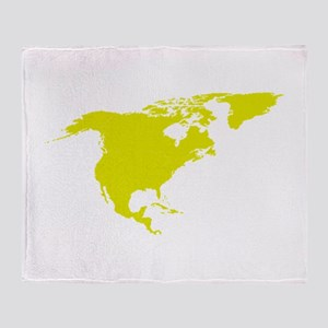 Continent of North America Throw Blanket