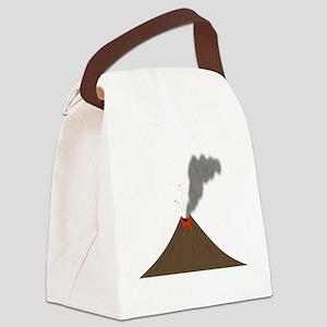 Erupting Volcano Canvas Lunch Bag