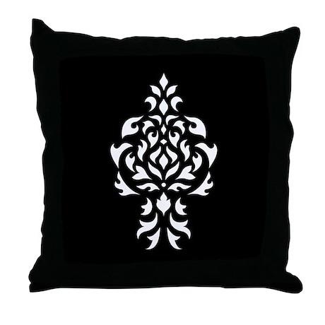 Damask White on a Black Square Throw Pillow