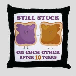 PBJ 10th Anniversary Throw Pillow