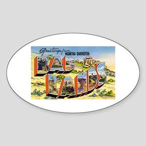 Badlands North Dakota Greetings Oval Sticker