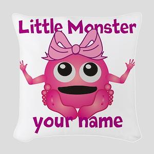 Little Girl Monster Woven Throw Pillow