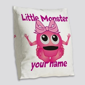 Little Girl Monster Burlap Throw Pillow