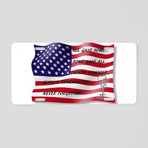 Never Forgotten Hero Flag Aluminum License Plate