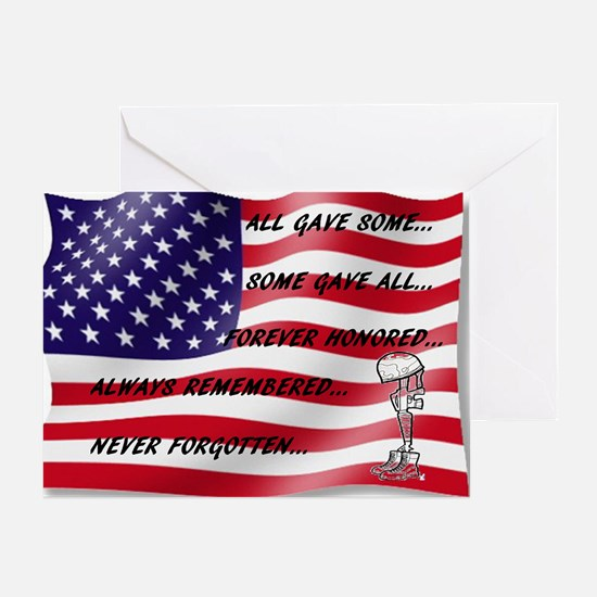 Never Forgotten Hero Flag Greeting Cards