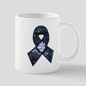 Navy Ribbon Mugs