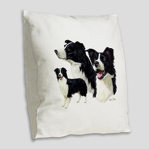 Border Collie Burlap Throw Pillow