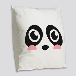 Cute Panda Face Burlap Throw Pillow