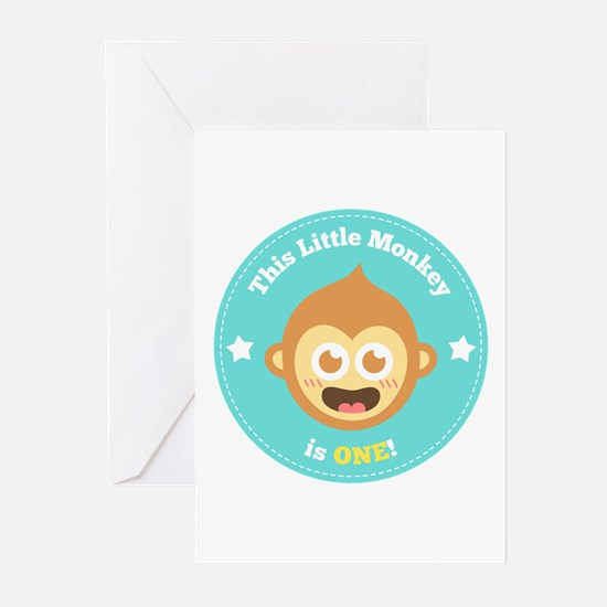 This Little Monkey is One Greeting Cards